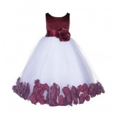 Burgundy Floral Rose Petals Tulle Flower Girl Dress 167S