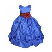 Royal Blue/Burgundy Satin Taffeta Pick-Up Bubble Flower Girl Dress 301S