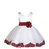 White/Burgundy Rose Petals Tulle Flower Girl Dress Wedding 305S