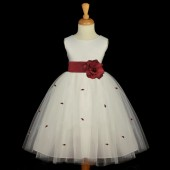 Burgundy Rosebuds Satin Tulle Flower Girl Dress Special Occasions 815S