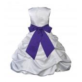 White/Cadbury Satin Pick-Up Bubble Flower Girl Dress V2 806S