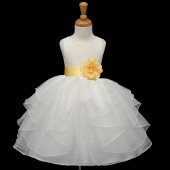 Ivory/Canary Satin Shimmering Organza Flower Girl Dress Wedding 4613S