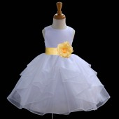 White/Canary Satin Shimmering Organza Flower Girl Dress Wedding 4613S