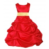 Red/Canary Satin Pick-Up Bubble Flower Girl Dress Christmas 806S