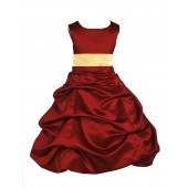 Apple Red/Canary Satin Pick-Up Bubble Flower Girl Dress 806S