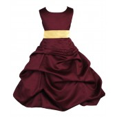 Burgundy/Canary Satin Pick-Up Bubble Flower Girl Dress Event 806S