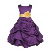 Purple/Canary Satin Pick-Up Bubble Flower Girl Dress Easter 808T
