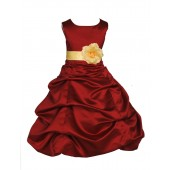 Apple Red/Canary Satin Pick-Up Bubble Flower Girl Dress 808T