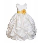 Ivory/Canary Satin Taffeta Pick-Up Bubble Flower Girl Dress 301T
