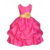Fuchsia/Canary Satin Pick-Up Flower Girl Dress Recital 208T