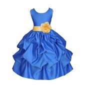 Royal Blue/Canary Satin Pick-Up Flower Girl Dress Dance 208T