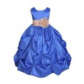 Royal Blue/Champagne Satin Taffeta Pick-Up Bubble Flower Girl Dress 301S