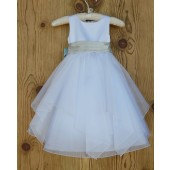 White/Champagne Satin Bodice Shimmering Organza Flower Girl Dress J012