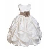 Ivory/Champagne Satin Taffeta Pick-Up Bubble Flower Girl Dress 301T