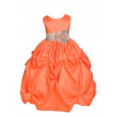 Orange/Champagne Satin Taffeta Pick-Up Bubble Flower Girl Dress 301S