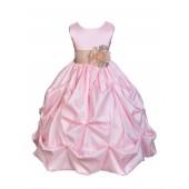 Pink/Champagne Satin Taffeta Pick-Up Bubble Flower Girl Dress 301S