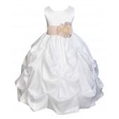 Ivory/Champagne Satin Taffeta Pick-Up Bubble Flower Girl Dress 301S