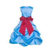Turquoise/Cherry Satin Pick-Up Bubble Flower Girl Dress Recital 806S
