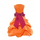 Orange/Cherry Satin Pick-Up Bubble Flower Girl Dress Halloween 806S