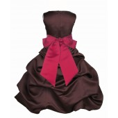 Brown/Cherry Satin Pick-Up Bubble Flower Girl Dress Occasions 806S