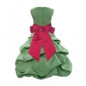 Clover Green/Cherry Satin Pick-Up Bubble Flower Girl Dress 806S