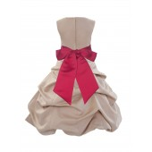 Champagne/Cherry Satin Pick-Up Bubble Flower Girl Dress Princess 806S