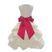 Ivory/Cherry Satin Pick-Up Bubble Flower Girl Dress Bridesmaid 806S