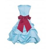 Spa Blue/Cherry Satin Pick-Up Bubble Flower Girl Dress 806S