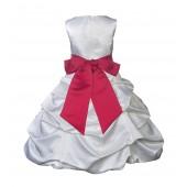 White/Cherry Satin Pick-Up Bubble Flower Girl Dress V2 806S