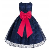 Navy Blue / Cherry Floral Lace Overlay Flower Girl Dress Elegant Beauty 163T