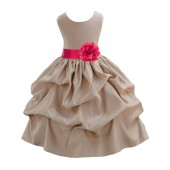 Champagne/Cherry Satin Pick-Up Flower Girl Dress Party 208T