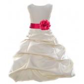Ivory/Cherry Satin Pick-Up Bubble Flower Girl Dress Bridesmaid 808T