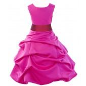 Fuchsia/Cherry Satin Pick-Up Bubble Flower Girl Dress Elegant 806S