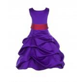 Cadbury Regency/Cherry Satin Pick-Up Bubble Flower Girl Dress 806S