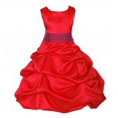 Red/Cherry Satin Pick-Up Bubble Flower Girl Dress Christmas 806S