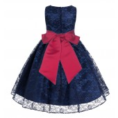 Navy / Cherry Floral Lace Overlay Flower Girl Dress Lace Dresses 163s