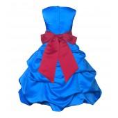 Royal Blue/Cherry Satin-Pick-Up Bubble Flower Girl Dress 806S
