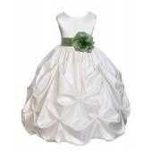 Ivory/Clover Green Satin Taffeta Pick-Up Bubble Flower Girl Dress 301T