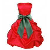 Red/Clover Green Satin Pick-Up Bubble Flower Girl Dress Christmas 806S