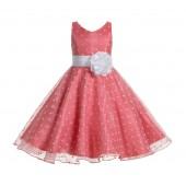 Coral / White Organza Polka Dot V-Neck Flower Girl Dress 184T
