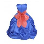 Royal Blue/Coral Satin Taffeta Pick-Up Bubble Flower Girl Dress 301S
