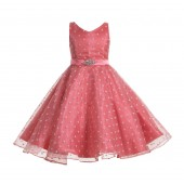 Coral Organza Polka Dot V-Neck Rhinestone Flower Girl Dress 184
