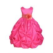 Fuchsia/Coral Satin Taffeta Pick-Up Bubble Flower Girl Dress 301S
