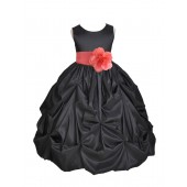 Black/Coral Satin Taffeta Pick-Up Bubble Flower Girl Dress 301S