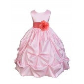 Pink/Coral Satin Taffeta Pick-Up Bubble Flower Girl Dress 301S