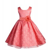 Coral Floral Lace Overlay Flower Girl Dress Formal Beauty 163S
