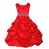 Red/Coral Satin Pick-Up Bubble Flower Girl Dress Christmas 806S