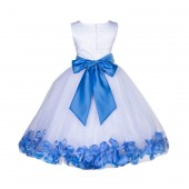 White/Corn flower Lace Top Tulle Floral Petals Flower Girl Dress 165S