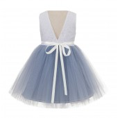 Dusty Blue/ Ivory Backless Lace Flower Girl Dress Rhinestone 206R3