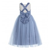 Dusty Blue Crossed Straps A-Line Flower Girl Dress 177